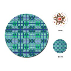 Mod Blue Green Square Pattern Playing Cards (round)