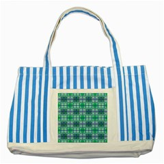 Mod Blue Green Square Pattern Striped Blue Tote Bag