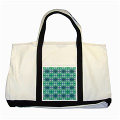 Mod Blue Green Square Pattern Two Tone Tote Bag