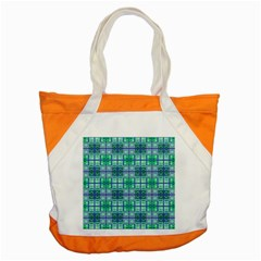 Mod Blue Green Square Pattern Accent Tote Bag