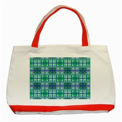 Mod Blue Green Square Pattern Classic Tote Bag (red)