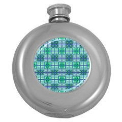 Mod Blue Green Square Pattern Round Hip Flask (5 Oz)