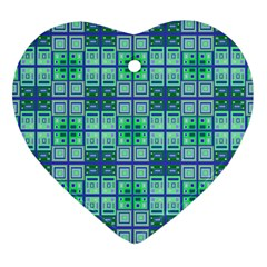 Mod Blue Green Square Pattern Heart Ornament (two Sides)