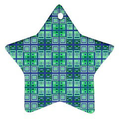 Mod Blue Green Square Pattern Star Ornament (two Sides)