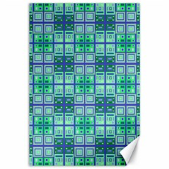 Mod Blue Green Square Pattern Canvas 12  X 18