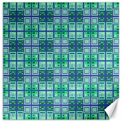 Mod Blue Green Square Pattern Canvas 16  X 16