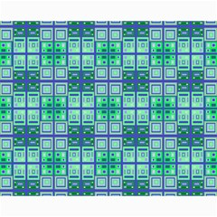 Mod Blue Green Square Pattern Canvas 16  X 20