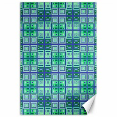 Mod Blue Green Square Pattern Canvas 20  X 30