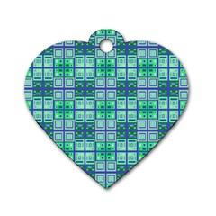 Mod Blue Green Square Pattern Dog Tag Heart (two Sides)
