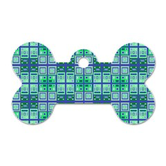 Mod Blue Green Square Pattern Dog Tag Bone (two Sides)