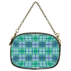 Mod Blue Green Square Pattern Chain Purse (one Side) by BrightVibesDesign