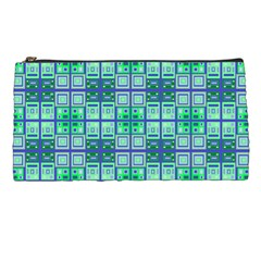 Mod Blue Green Square Pattern Pencil Cases by BrightVibesDesign