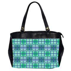 Mod Blue Green Square Pattern Oversize Office Handbag (2 Sides)