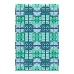Mod Blue Green Square Pattern Shower Curtain 48  X 72  (small)