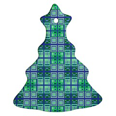 Mod Blue Green Square Pattern Christmas Tree Ornament (two Sides) by BrightVibesDesign