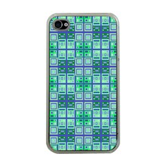 Mod Blue Green Square Pattern Apple Iphone 4 Case (clear)