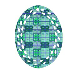 Mod Blue Green Square Pattern Ornament (oval Filigree) by BrightVibesDesign