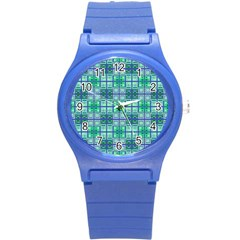 Mod Blue Green Square Pattern Round Plastic Sport Watch (s) by BrightVibesDesign