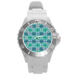 Mod Blue Green Square Pattern Round Plastic Sport Watch (l)