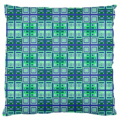 Mod Blue Green Square Pattern Large Cushion Case (two Sides)