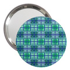 Mod Blue Green Square Pattern 3  Handbag Mirrors