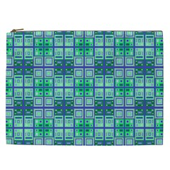 Mod Blue Green Square Pattern Cosmetic Bag (xxl)