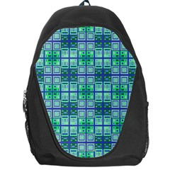 Mod Blue Green Square Pattern Backpack Bag
