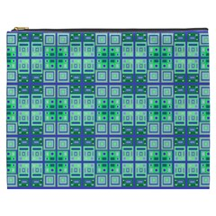 Mod Blue Green Square Pattern Cosmetic Bag (xxxl)