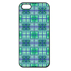 Mod Blue Green Square Pattern Apple Iphone 5 Seamless Case (black)