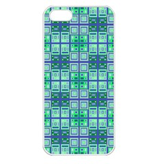 Mod Blue Green Square Pattern Apple Iphone 5 Seamless Case (white)