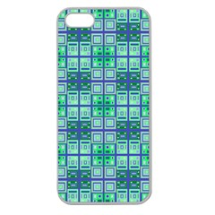 Mod Blue Green Square Pattern Apple Seamless Iphone 5 Case (clear)