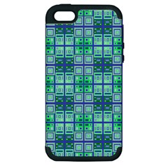 Mod Blue Green Square Pattern Apple Iphone 5 Hardshell Case (pc+silicone)