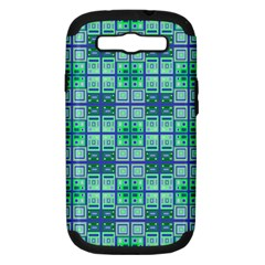 Mod Blue Green Square Pattern Samsung Galaxy S Iii Hardshell Case (pc+silicone)