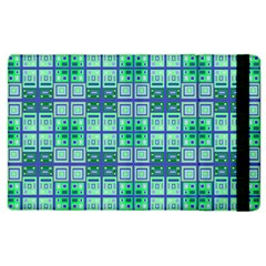 Mod Blue Green Square Pattern Apple Ipad 3/4 Flip Case