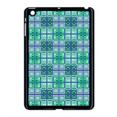 Mod Blue Green Square Pattern Apple Ipad Mini Case (black)