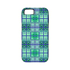 Mod Blue Green Square Pattern Apple Iphone 5 Classic Hardshell Case (pc+silicone)