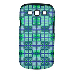 Mod Blue Green Square Pattern Samsung Galaxy S Iii Classic Hardshell Case (pc+silicone)