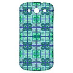Mod Blue Green Square Pattern Samsung Galaxy S3 S Iii Classic Hardshell Back Case
