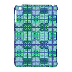 Mod Blue Green Square Pattern Apple Ipad Mini Hardshell Case (compatible With Smart Cover)