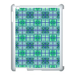 Mod Blue Green Square Pattern Apple Ipad 3/4 Case (white) by BrightVibesDesign