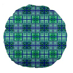 Mod Blue Green Square Pattern Large 18  Premium Round Cushions