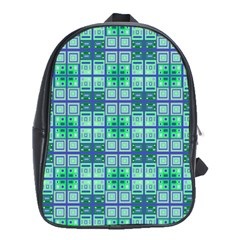 Mod Blue Green Square Pattern School Bag (xl)
