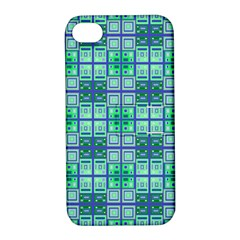 Mod Blue Green Square Pattern Apple Iphone 4/4s Hardshell Case With Stand