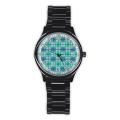 Mod Blue Green Square Pattern Stainless Steel Round Watch
