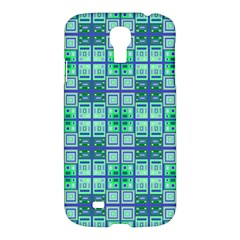 Mod Blue Green Square Pattern Samsung Galaxy S4 I9500/i9505 Hardshell Case