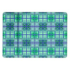 Mod Blue Green Square Pattern Samsung Galaxy Tab 10 1  P7500 Flip Case