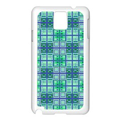 Mod Blue Green Square Pattern Samsung Galaxy Note 3 N9005 Case (white)