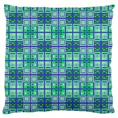 Mod Blue Green Square Pattern Large Flano Cushion Case (two Sides)