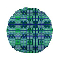Mod Blue Green Square Pattern Standard 15  Premium Flano Round Cushions