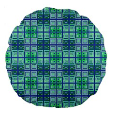 Mod Blue Green Square Pattern Large 18  Premium Flano Round Cushions